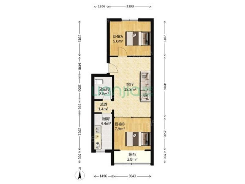 北京我爱我家门头沟,黑山东街,南北通透2居室,低楼层第7张图